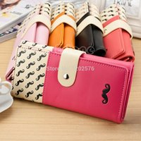 Wholesale A96 Lovely Women s Moustache Beard Zipper Leather Long Handbag Purse Wallet Card
