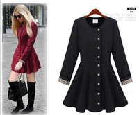 Wholesale Hot Sale Fashion Slim Women s Coats Trench Coats single breasted skirt round neck temperament windbreaker jacket