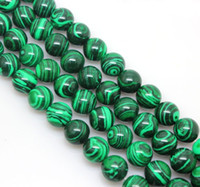 Wholesale mm Green Malachite stone Round Loose Spacer Beads