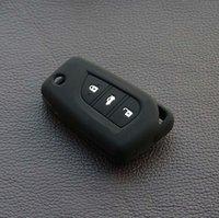 al por mayor toyota camry clave remota-estuche de silicona negro de Toyota Corolla Camry RAV4 prius hilux clave remota cáscara de la cubierta del tirón pegatina fob protector de llavero llavero