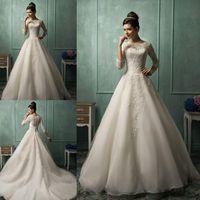 3 4 sleeve plus size wedding dresses - Vintage Amelia Sposa Bateau Long Illusion Sleeves A Line Wedding Dresses Sheer Lace Appliques Floor Length Bridal Gowns AS1282
