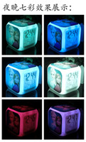Wholesale 2014 Frozen Retail And New LED Colors Change Digital Alarm Clock Frozen Anna and Elsa Thermometer Night Colorful Glowing ClocKH434
