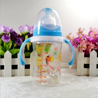 Wholesale 300ml High Quality Cute Printed Baby Cup Kids Children Learn Feeding Drinking Water Wide caliber Straw Handle Bottle Baby Feeding Bottle