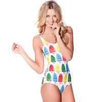 Wholesale Fashion Better Life Sexy Bikini Bodysuit Ice cream pattern Digital Printing Women Swimwear Backless SWIMSUIT WS69