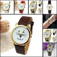 Joyería 8 colores disponibles envío gratuito barato venta de regalo lindo gato cara China cuero banda Wirst relojes de moda para las mujeres