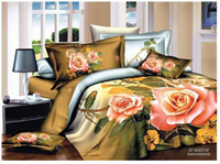 Adults King 100% Cotton 3D Yellow pink rose flower floral bedding comforter set sets queen size duvet cover bed sheet sheets bedspread quilt 100% cotton