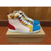 men high top shoes - new spell color genuine leather high top shoes fashion rivets spikes men red bottom sneakers Size35