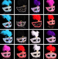 bars feathers - Hot Sale Halloween Feather Mask Masquerade Party Festival Bar Mask Lady Mask Mixed Color