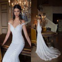 Cheap 2015 Off Shoulder Wedding Dresses New Styles Berta Trumpet Bridal Gowns Garden Lace Wedding Gown Beaded Sexy Beach Backless Wedding Dress