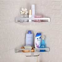 Wholesale And Retail Nickel Brushed Bathroom Shelf Storage Holder Wall Mounted Corner Shelf Dual Tiers W Hooks