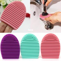 Wholesale New Arrive Colors Brush egg Cleaning Makeup Washing Brush Silica Glove Scrubber Board Cosmetic Clean Tools Made beauty