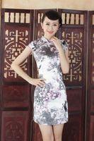 al por mayor qipao de seda-Envío Gratis vestido qipao chino Artesanía china floral Blend pintado seda Cheong-sam vestido de noche del cheongsam J5130