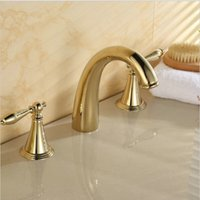 bathtub ceramic - 3 holes golden polished bathroom basin sink mixer tap bathtub faucet set solid brass deck mounted taps A F042