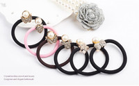 Wholesale New Women Rhinestone Pearl Elastic Hair Band Butterfly Heart Micky Star Bow Tie Hair Accessories for