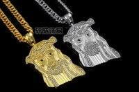 Wholesale 2014 New Hip Hop JESUS Christ Piece Pendant Necklace With Corn Chain K Gold Plated Men Jewelry