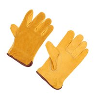Wholesale 2Pcs One Pair Working Protection Leather Safety Gloves Yellow Working Driving Gloves L Size