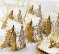 Wholesale New Creative Golden Silver Ribbon Wedding Favours Party Gift Candy Paper Box