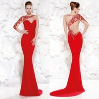 lavender silk - Red Mermaid Evening Dresses with Long Sleeves Modern Illusion Neckline Evening Gowns Sequined New Arrival Mother of the Bride Dresses
