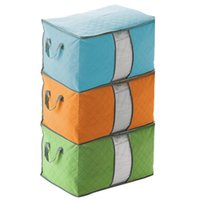 clothes box storage - 2015 retail Home Blanket Quilts Pillow Clothes Storage Bag Case Handles Underbed Storage Bag Bamboo woven storage box color random