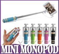 Wholesale 2016 Super Mini Wired Selfie Stick Handheld Portable Light Foam Monopod Fold Self portrait Stick Holder with Cable Sansung S6 Edge iphone