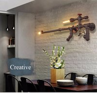 Wholesale 2016 Loft Industrial Wall Lights for Restaurant Bar Aisle Corridor Balcony Vintage Water Pipe Wall Lamps Creative Home Dec Lighting