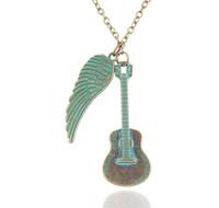 vintage black guitar - Vintage Music Guitar Angel Wing Pendant Necklace Retro Punk Chain Necklaces Jewelry For Men Women Fashion Accessory