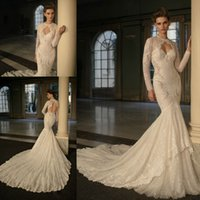 Cheap Berta Mermaid Wedding Dresses With Wrap Long Sleeve Sequins Crystal Lace Applique Bridal Gowns Beads Holow Back Count Train Bridal Dress