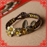 Others artwork jewelry - New national Thailand Ethnic jewelry copper flowers yellow agate bracelet Handmade braided Artwork traditional vintage bangle