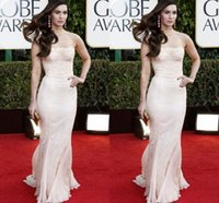 Cheap Pink Lace Celebrity Dress in Golden Globes 2016 73th Megan Fox Red Carpet Dress Strapless Sexy Open Back Ruched Elegant Evening Gown