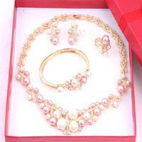 Wholesale Pink White Imitation Pearl Necklace Earring Bracelet Ring Four Piece Jewelry Sets For Women K Gold Plated Rhinestoine Necklace Sets