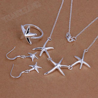 Wholesale fashion jewelry sterling silver fine white starfish necklace three suits