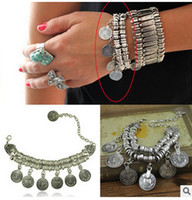 ancient names - 2016 fashion jewelry Vintage ancient coin tassel European and American big name beach casual dress with chain bracelet