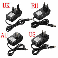 Wholesale Top Quality UK EU AU US DC12V1A Adapter Charger Power Supply For LED Strip Light Video mm mm Black Color