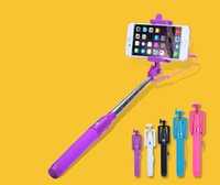 Wholesale New Hot Sell Wired Selfie Stick Handheld Portable Light Monopod Fold Self portrait Stick Holder wird for Samsung S6 Edge iphone s