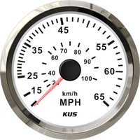 Wholesale KUS Gauges mm white faceplate stainless steel bezel speedometer MPH for the boat yacht marine