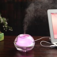 Wholesale Free DHL Beauty Backlight Crystal USB Air Ultrasonic Humidifier Fogger Aroma Mist Maker Aromatherapy Essential Oil Diffuser for Home Office
