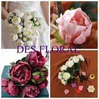 Wholesale DES FLORAL Decorative flower White Pink Wine Artificial Real Touch Peony Bundle for Wedding and Party Decoration More Colors