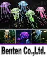 bath decor accessories - Cute Fluorescent Glowing Effect Jellyfish Aquarium Decoration Fishes Tank Ornament Swimming Pool Bath Decor Accessories LLFA19