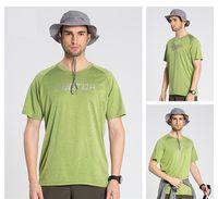 Wholesale New Brand Men Women Shirt Sport Tees Outdoor Fashion Hiking Shirt Men Climbing Tees Top Drytec Solid Short Men Shirt S XL