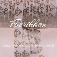 fold over elastic - 5 fold over elastic white gold foil diamon printed foe ribbon yards roll