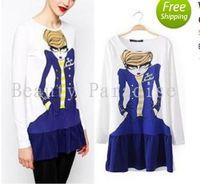 Wholesale Women Dress Autumn European American Fashion Novelty Beauty Character Star Cartoon Print Long Sleeve Pleat Skater Girl Dress