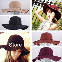 Wholesale 2013 NEW Vintage Retro Wool Felt Crushable Wide Brim Cloche Fedora Floppy Sun Beach Hat Cap Goth Bowknot Band