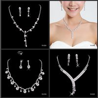 bridal necklace - 2015 Shinning Rhinestone Bridal Jewelry Bling Beaded Cheap Wedding Party Earring Bracelet Necklace Ring Jewel Set Birdal Accessories