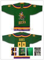 bank ice - 2016 New Good Green Adam Banks Jersey Mighty Ducks Movie Jerseys Game Worn Away Hockey Custom Any Name Number S XL