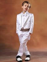Wholesale Boys Formal wear Custom Made Suits with swallow tailed coat in White Satin for Wedding exquisite and smart Jacket Vest Pants