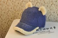 baseball cap packaging - Package mail of rabbit fur leopard cat ear baseball hat female Qiu dong the day Han edition of harajuku cute duck tongue
