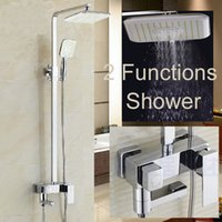 Wholesale And Retail Chrome Finish quot Rain Shower Head Faucet Tub Spout Mixer Tap W Hand Shower Sprayer