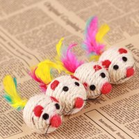 Wholesale Lovely sisal cm in diameter cat toys Cat Playing Toys Sisal Rope Ball spherical cat toys With feather tail
