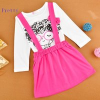 Wholesale 2015 hot sale sweet beautiful Children clothing set Cartoon Tops kids girl clothes princess girls skirts Candy Color