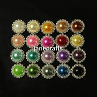 Cheap 50pcs Mix Colors Rhinestone Crystal Pearl Button Flatback Wedding Embellishment Hair Bow Alloy Button Round Metal 16mm